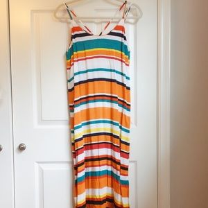 Retro striped strappy crossback maxi dress